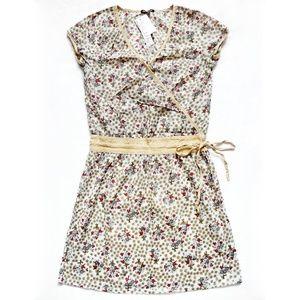 NWT Floral Faux Wrap Tie Waist Dress